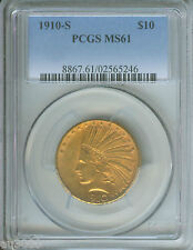 1910-S $10 Indian Eagle Pcgs Ms61 Stunning Premium Quality Rarely offered !