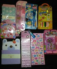 Kawaii Stationary Lot NEW Puffy Food Pens Jewels Japanese Cute Cats Erasers DIY