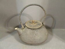 ANTIQUE JAPANESE CAST IRON TEAPOT TETSUBIN NAIL HEAD DESIGN MARKED