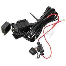 NEW 12V 2 USB Waterproof Motorcycle Power Adapter Charger Cable for iPhone iPod