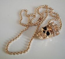 Mens Gold Finish Skull with Crown Hip-Hop Pendant with Complementary Chain