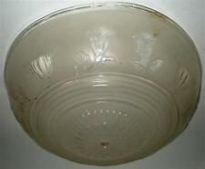 LIGHT FIXTURE CEILING GLASS VINTAGE LENS BENT FIXTURE FROSTED FLOWERS