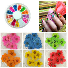 36Pcs 3D Flower Nail Art Sticker Dried DIY Tips Acrylic Decoration Wheel DIY NEW