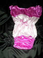 "ADULT BABY SISSY all-in-one DEEP PINK + BABY SATIN  ONESIE 40"" CHEST SLEEPSUIT"
