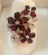 31CTWGenuine GARNET cluster RING Size 6.75 NEW .925 Sterling Silver