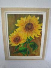 antikes Stillleben von Sonnenblumen signiert