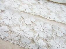 "5 yards Elastic/Stretch White Soft Daisy Floral 2.5"" Wide Lace Trim/sewing T169"