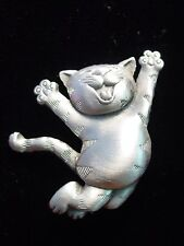 """JJ"" Jonette Jewelry Silver Pewter 'Joyful CAT' Pin"