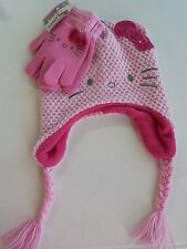 GIRLS ONE SIZE FITS MOST HELLO KITTY WINTER HAT & GLOVES PINK BOW NWT NEW 380*