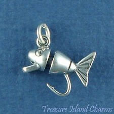 FISHING LURE BAIT WITH HOOK 3D .925 Solid Sterling Silver Charm FISH MADE IN USA