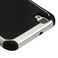 BLACK SILVER Plating COVER CASE + SCREEN FILM For LG Tribute HD / X STYLE PHONE