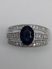 NEW 14K Solid White Gold Oval Shape Blue Sapphire and Three Row Diamond Ring