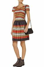Temperley London Women's Red Marlene Printed Cotton Dress Size 6  RRP £385    #2