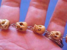 Custom Hand Carved SKULLS Religious Rosary Bracelet St BENEDICT Saint Medal