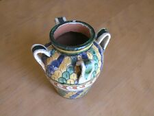 Vintage Italian Italy Majolica Faience Pottery Sgraffito Handled Vase Sgn Assisi