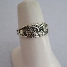 Taxco Silver Good Luck OWL Elephant Evil Eye Horse Shoe 4 Leaf Clover Ring 9.25