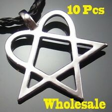 Wholesale 10 pcs Heartagram Star Heart HIM Pewter Pendant with Necklaces PP#233