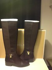 New Michael Kors Hamilton DK CHOCOLATE Leather 5050 Tall Boots Size 6