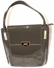 Women's Ladies Celebrity Grab Tote Bag Designer Handbag Gray Patent Leather