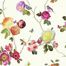 Butterfly Bird Floral Rose - Arthouse Opera Charmed White Multi Wallpaper 889801