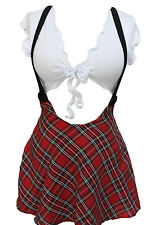 Naughty School Girl Fancy Costume Tatan Skirt Adult Party White Top 6 8 S M