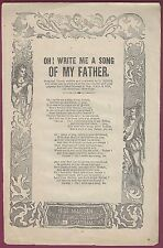 """American Broadside Ballad, """"Oh! Write Me A Song Of My Father"""" H. De Marsan"""