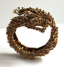 Butler & Wilson Gold Crystal Chinese Dragon Wrap Bangle Bracelet NEW