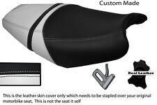 BLACK AND WHITE CUSTOM FITS KAWASAKI ZZR 1400 ZX14 06-11 DUAL LEATHER SEAT COVER