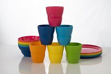Set of 18 Break-resistant Plastic Kids Cup Rainbow Tumblers, Bowls, Plates
