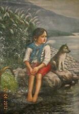 HAND PAINTED OIL PAINTING - A GIRL WITH HER DOG