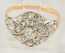 Antique Platinum and 14K  Diamonds Dome Filigree  Ring