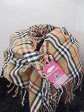 Nova Check Scarf Camel Black Red Plaid Fringe Trim NWT