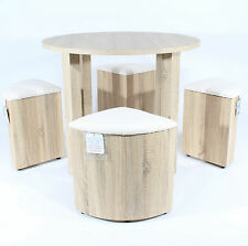 REBOXED DINING TABLE /w Four Cream STOOLS SET 4 Oak CHAIRS Space Saver Furniture