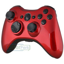 Full Housing Glossy Red Shell Case With Black Buttons For Xbox 360 Controller