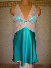 NWT Victoria's Secret M Babydoll Chemise Slip, Green Satin, White Lace, Very Sex