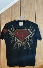 SUPERMAN TEE XL BLACK GRAPHIC SHORT SLEEVE GRAPHIC FRONT AND BACK RHINESTONES