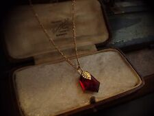 Vintage Jewellery Ruby Red Geometric Crystal Drop Gold Pendant Necklace Chain