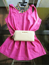 Laura Biagiotti Made in Italy Ladies Vtg Blog Fashion Pink Summer Top sz L AW90