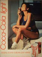 PUBLICITÉ 1994 COCA-COLA LIGHT MOINS D'UNE CALORIE PAR VERRE - ADVERTISING -