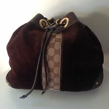 Chocolate Brown Suede Gucci Drawstring Purse Handbag Tom Ford Era Raquel Hobo