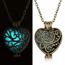 Fashion Fairy Bronze Heart Magic Locket Hollow Glow In The Dark Pendant Necklace