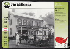 THE MILKMAN Food History Horse-Drawn Cart PICTURE GROLIER STORY OF AMERICA CARD