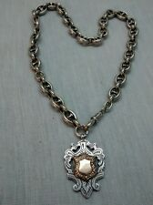 Very nice antique Victorian English sterling gold top watch fob chain necklace