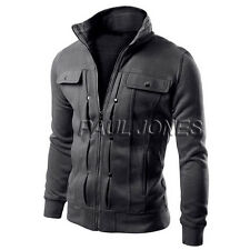 2017 Fashion Mens Slim Fit Stand Collar Coat Tops Military Jacket Outwear Blazer
