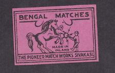 Ancienne   étiquette  Allumette Inde  BN12523 Cheval Bengal