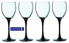 Luminarc Domino Set of 4 Wine Glasses with Black Stem, 250ml - E9483