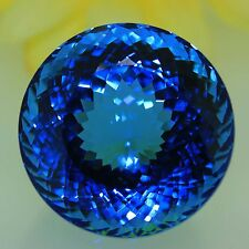 Loose unmounted natural huge Round cut dark London Blue Topaz 120.50 carat VIDEO