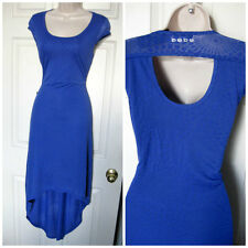 BEBE BLUE LOGO BURNOUT CUTOUT SWAROVSKI HI LOW DRESS NEW $89 MEDIUM M