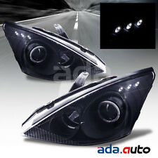 2000-2004 Ford Focus [Dual LED Halo] Projector Black Headlights Lamps Set