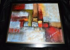 Vintage K. HILLMAN Modern Abstract Multi-Color Framed Oil On Canvas Painting
